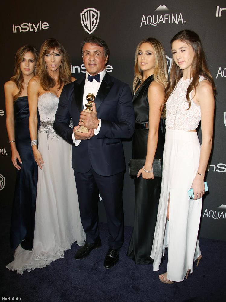 Sylvester Stallone a Golden Globe-ja mellett még egy nagyon menő kiegészítőt villantott: a feleségét, és három szuperszép lányukat.