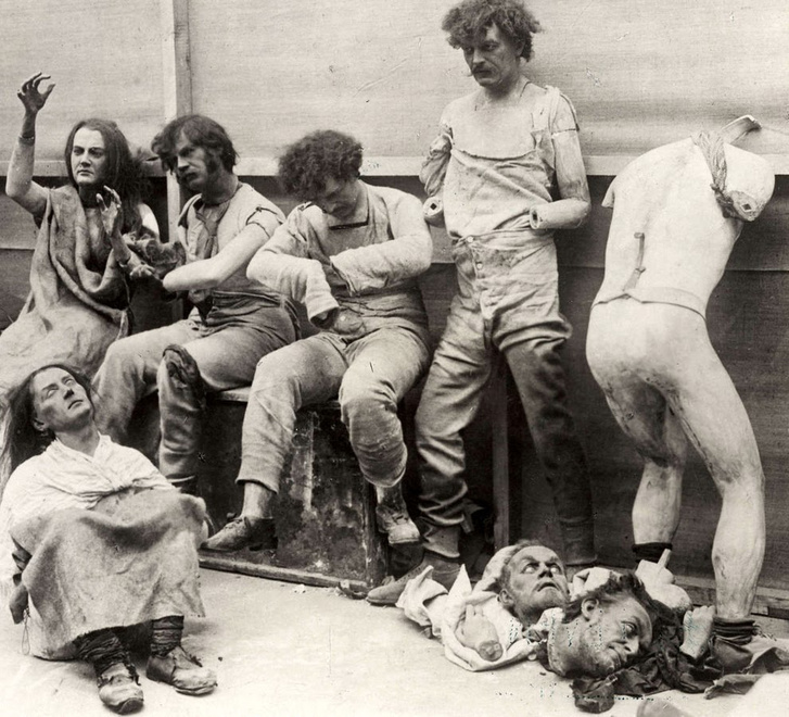Melted and damaged mannequins after a fire at Madam Tussaud's Wa