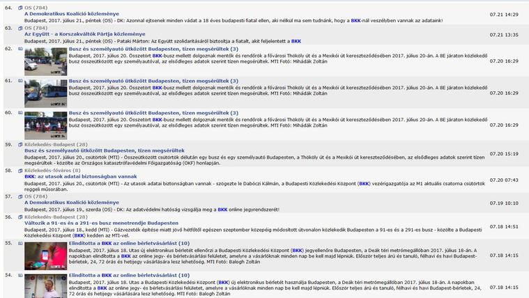 Hírek a BKK keresőszóra az MTI-ben