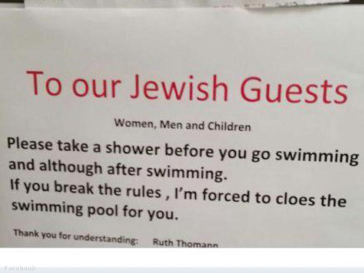 Svájci hotel: A zsidók fürödjenek le mielőtt a medencébe mennek