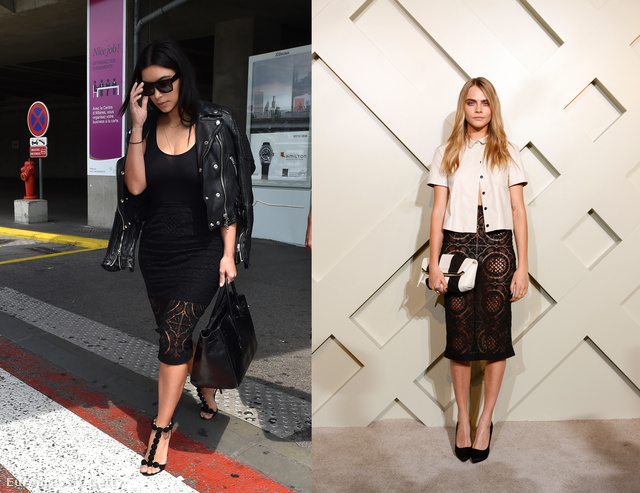Kim Kardashian és Cara Delevingne is a csipkeszoknyára szavaztak.
