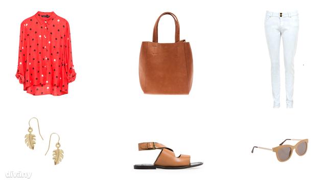 Ing - 6995 Ft (Zara), nadrág - 6900 Ft (F&F), fülbevaló - 3,52 euró (Asos), napszemüveg - 3836 Ft (Parfois) , táska - 6995 Ft (Bershka) , szandál - 15995 Ft (Mango)