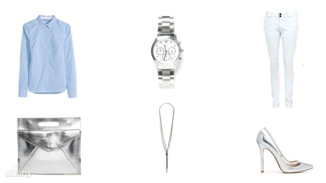 Ing - 3990 Ft (H&M), farmernadrág - 6900 Ft (F&F), nyaklánc - 1885 Ft (Parfois), óra - 25995 Ft (Zara), táska - 63,38 euró (Asos), cipő - 42,25 euró (Asos)