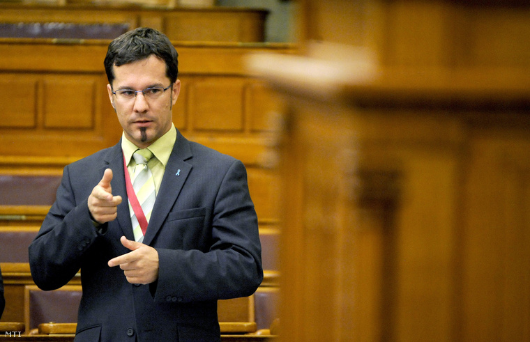 Tapolczai Gergely, a Fidesz képviselője jelnyelven szólal fel az Országgyűlés plenáris ülésén 2013. szeptember 17-én.