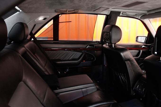 The whole interior was retrimmed in alcantara above the car's waist level