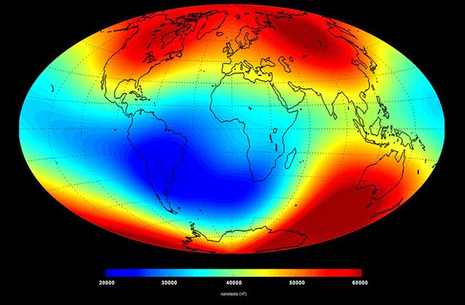earth magnetic field shrinking