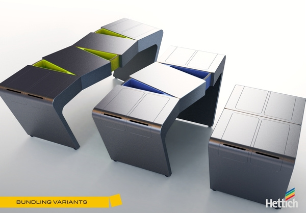 A 2009-ben Nemzetközi Design díjjal is kitüntetett harmonikaszerűen bővíthető és összecsukható konyha sokkal több funkcióval lett ellátva, mint az elvárható egy ilyen terméktől.