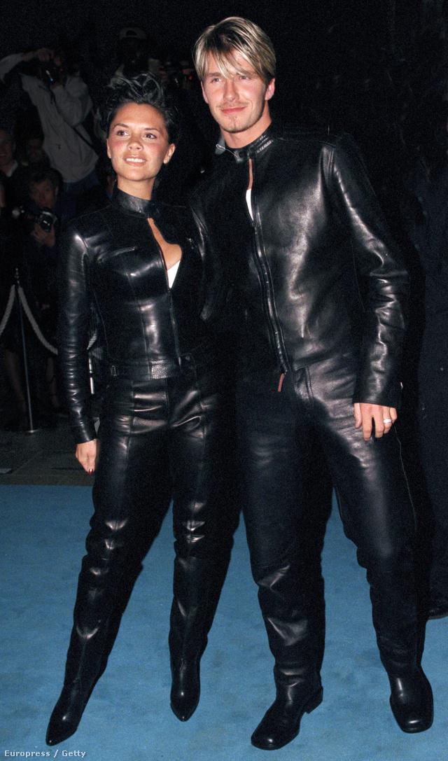 Bőrszerkőben, a focista melírozott frizurával 1999-ben a londoni Versace Clubban rendezett Gála Partyn.
