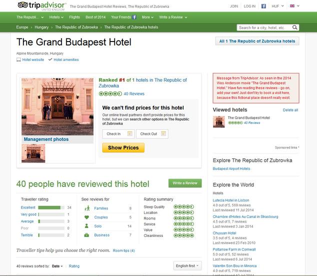 A nemlétező szálloda adatlapjaFotó: Tripadvisor