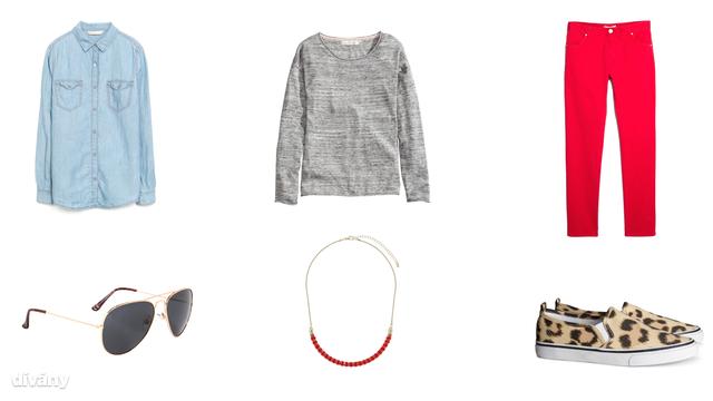 Ing - 4995 Ft (Zara), pulóver - 5990 Ft (H&M), nadrág - 5995 Ft (Mango), napszemüveg - 1190 Ft (F&F) nyaklánc - 8,50 font (Topshop) cipő - 3990 Ft (H&M)