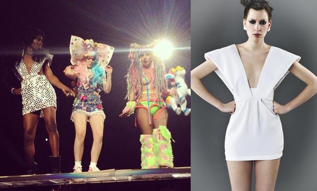 Balra Lady Gaga koncertjén, jobb oldalon pedig a lookbookfotózás modelljén látható a Szobrok kollekcióból származó ruha