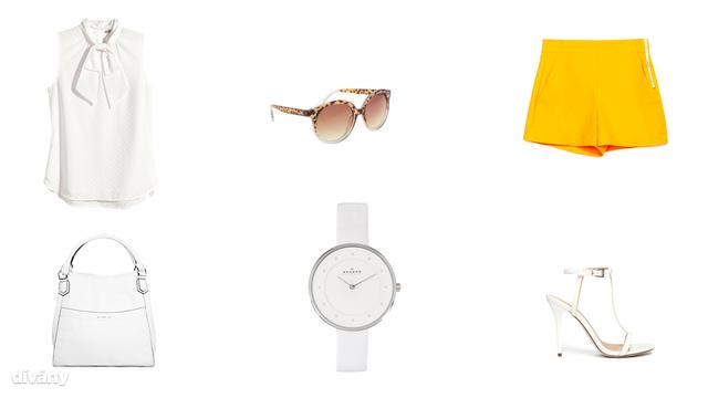 Blúz - 6990 Ft (H&M), rövidnadrág - 5995 Ft (Zara), napszemüveg - 2396 Ft (Parfois), óra - 147,88 euró (Skagen), táska - 6995 Ft (Mango), cipő - 66,69 euró (Asos)