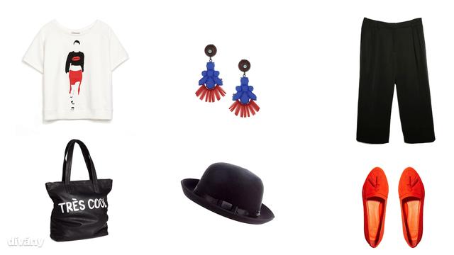 Póló - 2995 Ft (Zara), nadrág - 11995 Ft (Mango), fülbevaló - 12,50 font (Topshop), kalap - 14,99 font (New Look), táska - 5990 Ft (H&M), cipő - 28,17 euró (Asos)