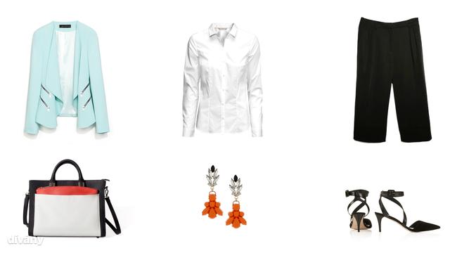 Blúz - 3990 Ft (H&M), blézer - 7995 Ft (Zara), nadrág - 11995 Ft (Mango), fülbevaló - 12,50 font (Topshop), táska - 7995 Ft (Zara), cipő - 58 font (Topshop)