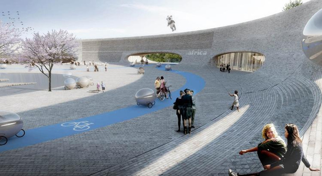 Közösségi tér biciklikkel