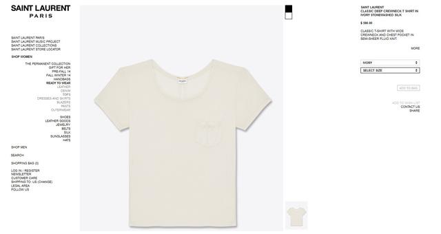 Fehér Saint Laurent póló a szezon slágere! 590 dollár, azaz 138 ezer forint.