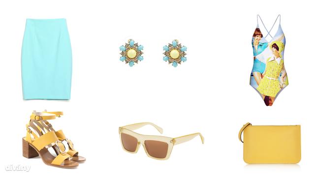 Fürdőruha - 32,99 dollár (Romwe), szoknya - 2995 Ft (Zara), fülbevaló - 4,99 font (New Look), napszemüveg - 16 font (Topshop), táska - 380 euró - (Sophia Webster/Net-a-porter), szandál - 5995 Ft (Zara)