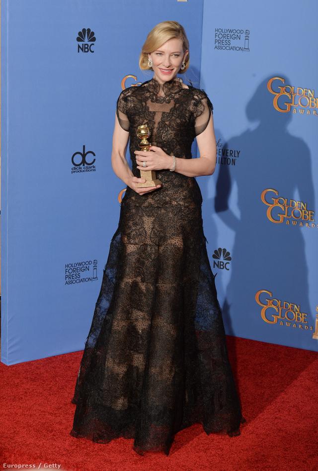 Cate Blanchettet a Golden Globe-díjátadón viselt fekete tüll Giorgio Armani Privé ruhája miatt jelölték.