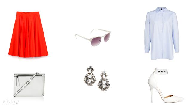 Ing - 3995 Ft (Mango), szoknya - 2995 Ft (Zara), fülbevaló - 6005 Ft (Mango), napszemüveg - 5995 Ft (Parfois), táska - 25 font (Topshop), cipő - 57,14 euró (Asos)