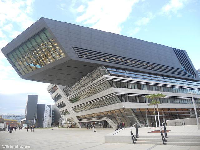 A Zaha Hadid által tervezett egyetemi könyvtár Bécsben