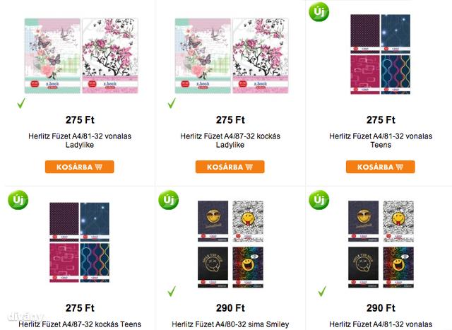 A Pirexben jó füzetek vannak, az ár magasnak tűnik, de ezek A4-esek