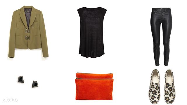 Blézer - 19995 Ft (Zara), póló - 2595 Ft (Mango), leggings - 8990 Ft (H&M), fülbevaló - 3005 Ft (Mango), táska - 50 euró (Asos), cipő - 9990 Ft (H&M)
