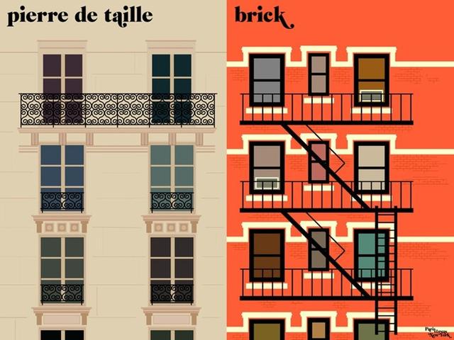 A francia grafikus a világ két leghíresebb városa előtt tiszteleg.