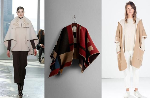 Ha a képre kattint, megnézhet még két variációt. Balról jobbra: Delpozo kifutó, Burberry köpeny, 1395 dollár, Zara pelerin, 22995 forint, H&M pelerin 8990 forint, Valentino köpeny a kifutón.