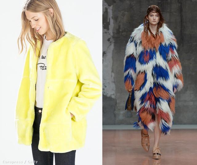 Kattintson a képre a többi verzióért! Balról jobbra: Topshop Unique, Roksanda Ilincic, Zara sárga műszőr kabát, 22995 forint, Marni kabát a kifutón.