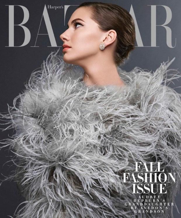 Audrey Hepburn unokája a Harper's Bazaar címlaplányaként.