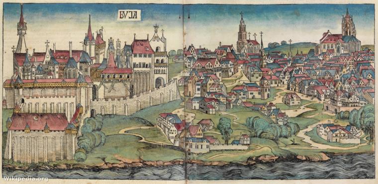 Buda legkorábbi ismert ábrázolása Hartmann Schedel Világkrónikájában (1493). A bal alsó sarokban látható a védett terület: a dunai zárófal, amit a kortinafalak kapcsolnak a felsőbb részekhez