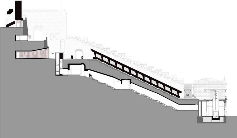 A Vízhordó lépcső és kazamatafolyosó metszete