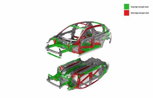 Sok az új 308-as vázában a kétszeres szilárdságú acél (zöld), van háromszoros erősségű is (piros)