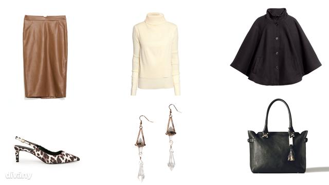 Kepp - 8990 Ft (H&M), garbó - 9990 Ft (H&M), szoknya - 9995 Ft (Zara), fülbevaló - 1795 Ft (Stradivarius) , táska - 75995 Ft (Massimo Dutti)