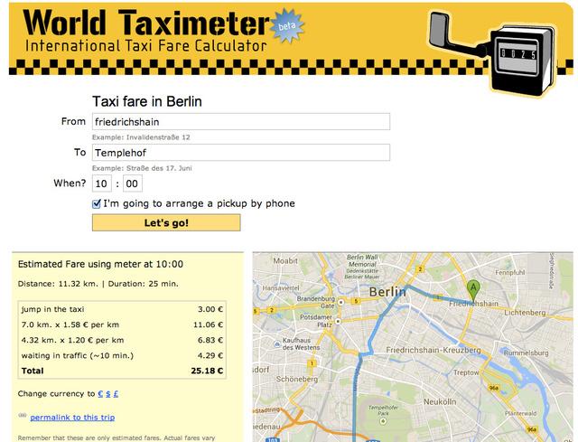 world taxi fares