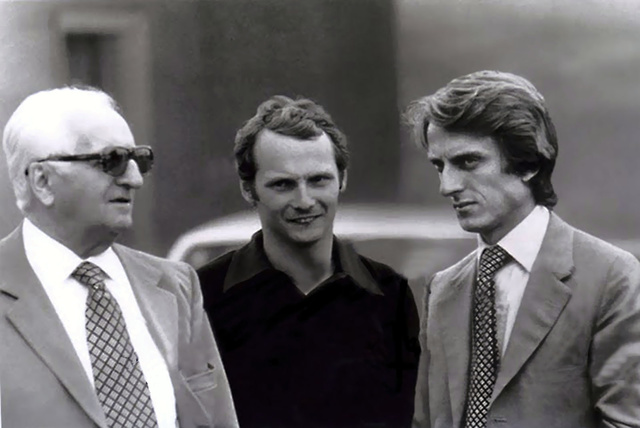 Enzo-Lauda-Montezemolo. Az első sikersztori. Montezemolo már ekkor a Forma-1-es csapatot vezette.