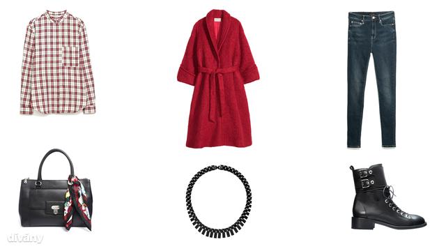 Ing - 8995 Ft (Zara), farmernadrág - 6995 Ft (Mango), kabát - 39990 Ft (H&M), nyaklánc - 12,50 font (Topshop), táska - 268,72 euró (Love Moschino/Asos), bakancs - 25995 Ft (Zara)