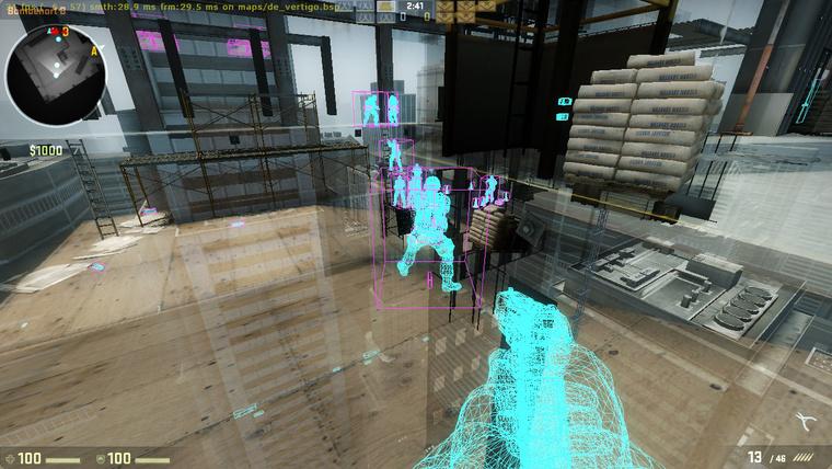 Röntgenlátást és a célzást könnyítő program, wallhack működés közben a Counter Strike: Global Offensiveben