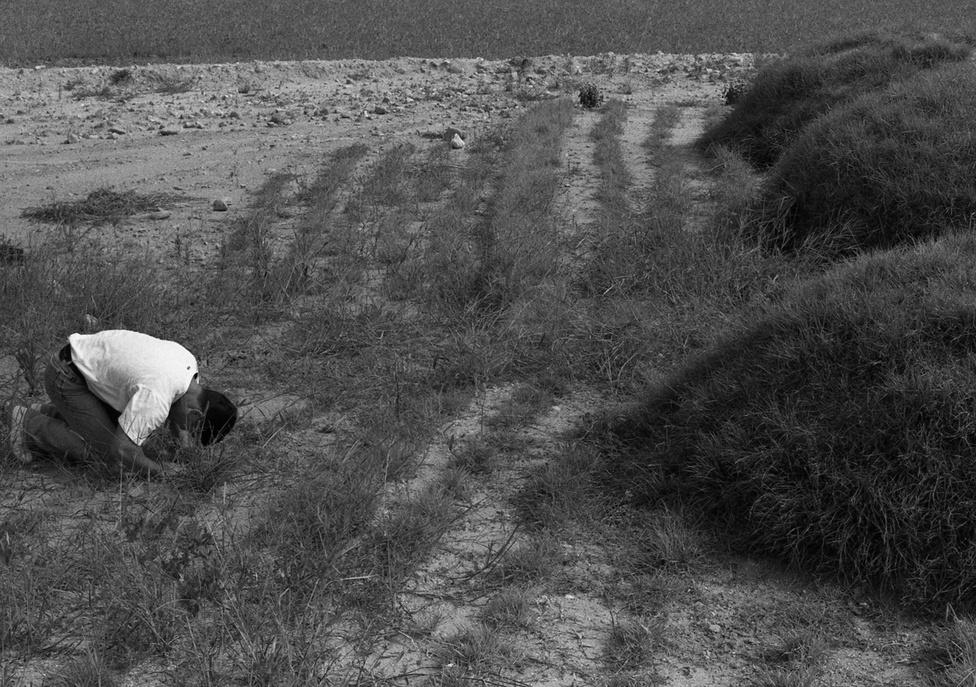 """A fotós saját magát is megörökítette egy régi barátja sírjánál, aki több évnyi börtönbüntetés után, nem sokkal a szabadulását követően, öngyilkosságot követett el. """"Nem voltunk valami jófiúk"""" – emlékezik vissza fiatal éveikre."""