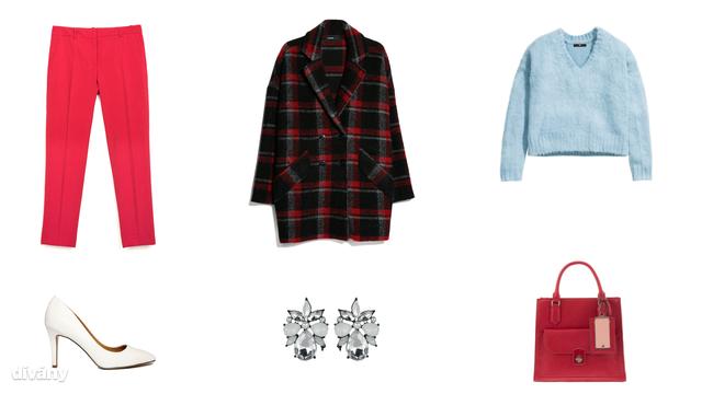 Pulóver - 8990 Ft (H&M), nadrág - 9995 Ft (Zara), kabát - 27995 Ft (Mango), fülbevaló 3,99 font (New Look), táska - 8995 Ft (Parfois), cipő - 35,72 euró (Asos)