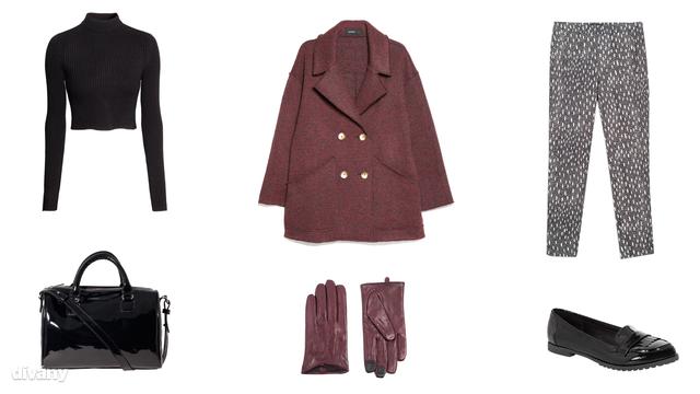 Garbó - 5990 Ft (H&M), kabát - 27995 Ft (Mango), nadrág - 9995 Ft (Zara), kesztyű - 22,86 euró (Asos), táska - 5995 Ft (Stardivarius), cipő - 5290 Ft (F&F)