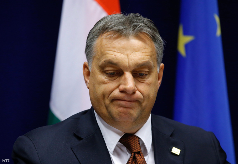 Orbán Viktor a mai sajtótájékoztatón, Brüsszelben
