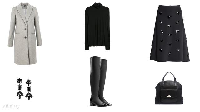 Garbó - 6995 Ft (Mango), szoknya - 12990 Ft (H&M), kabát - 11200 Ft (F&F), fülbevaló - 1690 Ft (F&F), táska - 50 euró (Pieces/Asos), csizma - 35995 Ft (Zara)