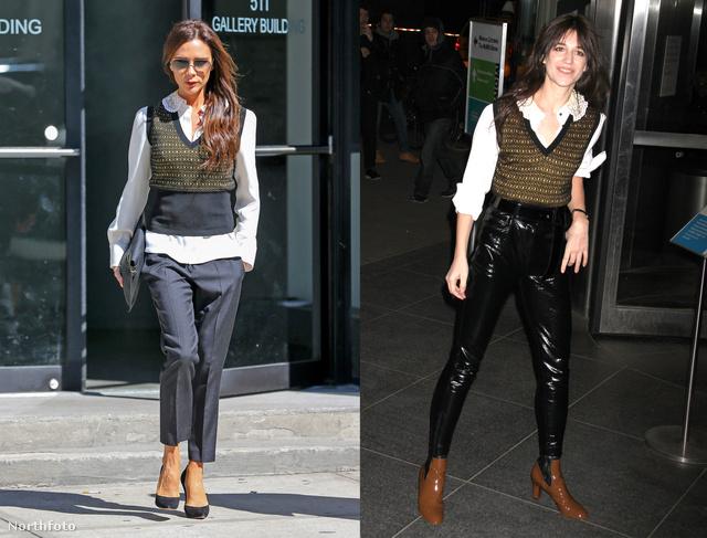Victoria Beckham és Charlotte Gainsbourg hasonló szettben
