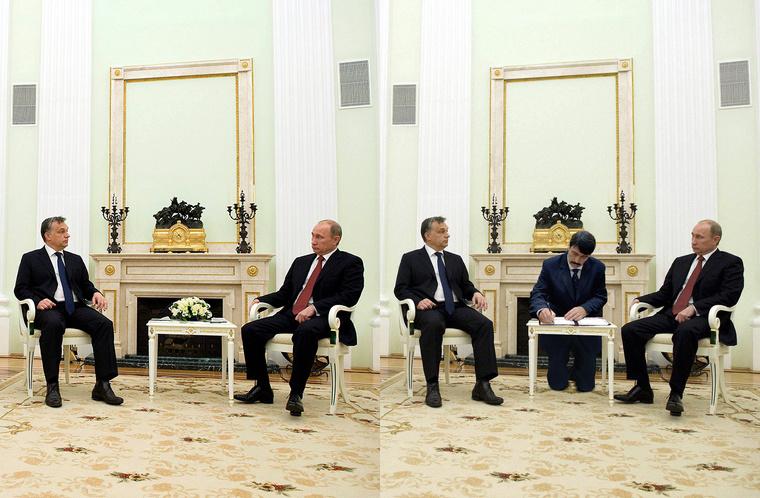 Balra az eredeti (Koszticsák Szilárd / MTI) jobbra a manipulált fotó (szarvas / Index)látható.