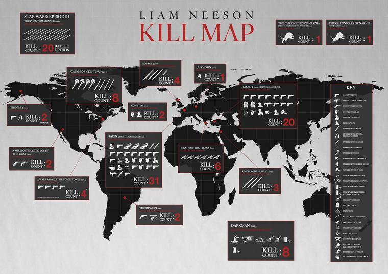 Ennyi embert ölt meg Liam Neeson a moziban (nem teljes a térkép).