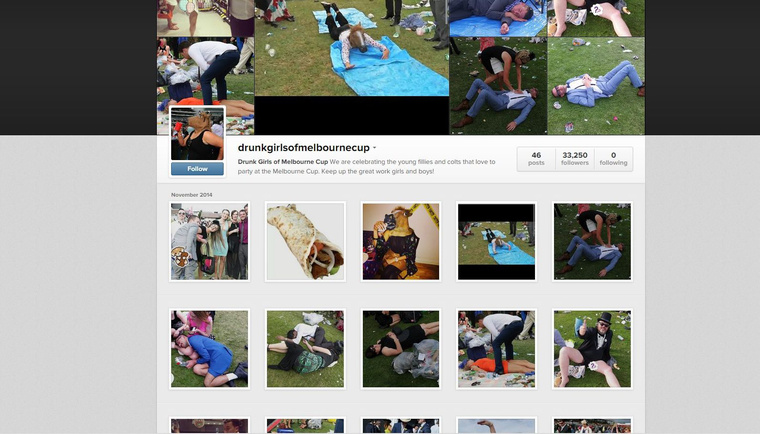 Screenshot aDrunk Girls of Melbourne Cup instagramról
