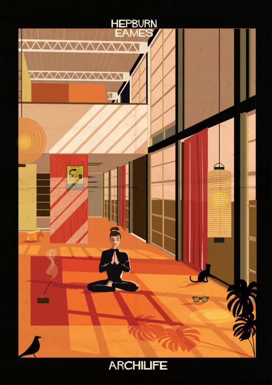 Audrey Hepburn egy Eames féle térben jógázik.