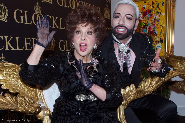 Gina Lollobrigida idén februárban Berlinben, Harald Glööckler divattervezővel