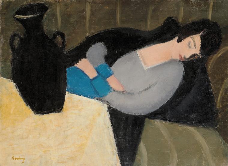 Berény Róbert: Alvó nő fekete vázával